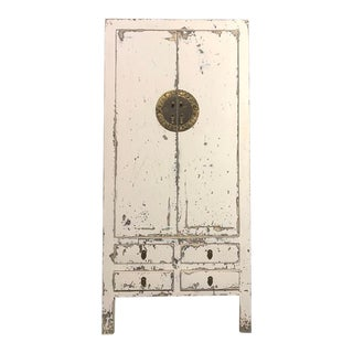 Contemporary Distressed White Armoire For Sale