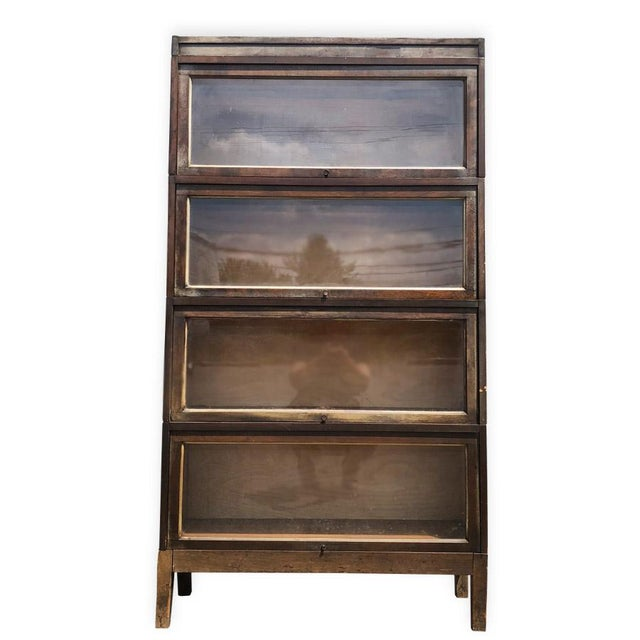 Antique Shiplap Shaw Walker 4 Stack Barrister Bookcase - Image 2 of 10