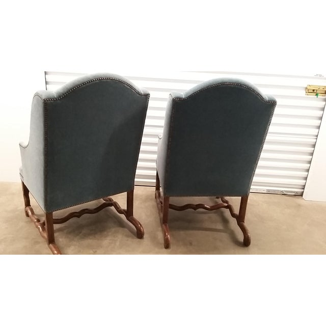Wood Vintage Os De Mouton Chairs Upholstered in Blue Sapphire Mohair - a Pair For Sale - Image 7 of 9