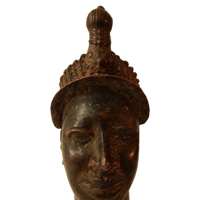 Superb Old Benin bronze figure representing the queen mother Queen mother is represented in her full ceremonial regalia...