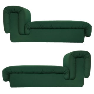 Pair of Italian Fully Upholstered Modernist Chaise Longues