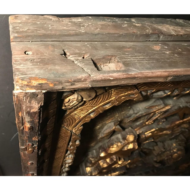 Asian 18th Century Antique Qing Chinese Carved Giltwood Temple Wall Panel For Sale - Image 3 of 13