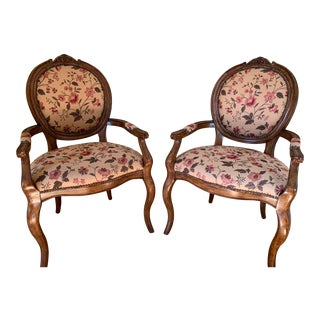 Floral Upholstered Armchairs with Walnut Frame - a Pair For Sale