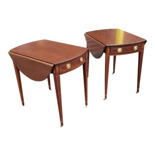 Pair Mahogany Baker Furniture Historic Charleston Federal Style Pembroke End Tables 1990s For Sale