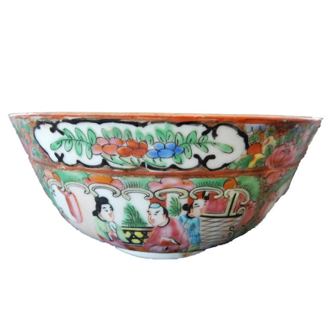 Antique Chinese Export Porcelain Rose Medallion Bowl For Sale - Image 11 of 11
