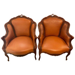 Pair of Early 1920s Louis XV Style Barrel Back Bergere Armchairs For Sale