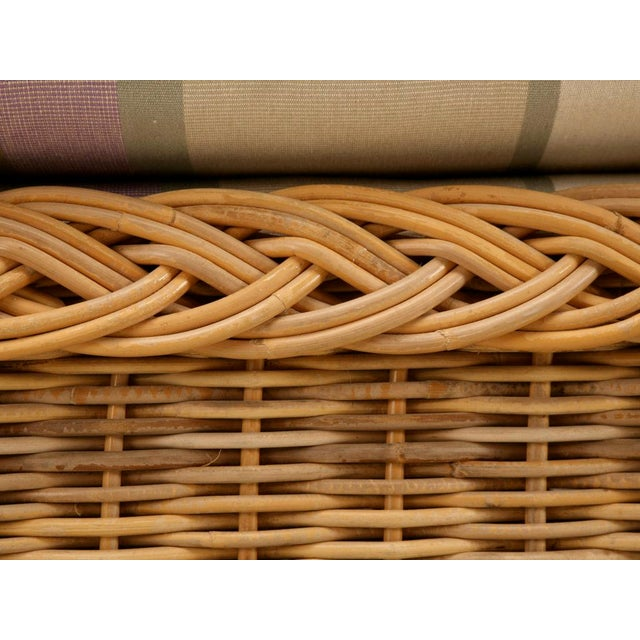 "Vintage Italian Les Toiles Du Soleil Upholstered ""Wicker Works"" Bench - Image 4 of 11"
