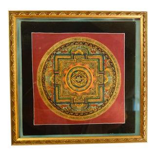 Tibetan Mandala Hand-Painted 14k Gold Painting For Sale