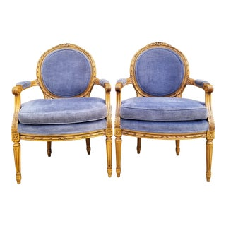 French Louis XVI Style Carved Wood Armchairs - A Pair