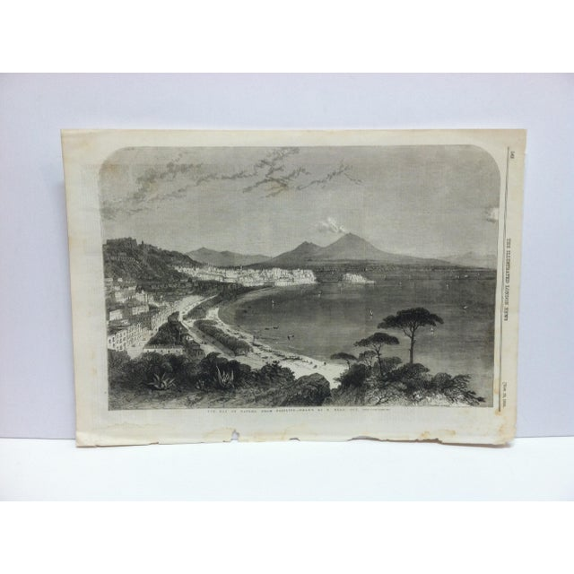 """Mid 19th Century 1856 Antique """"The Bay of Naples - From Posilipo"""" The Illustrated London News Print For Sale - Image 5 of 5"""