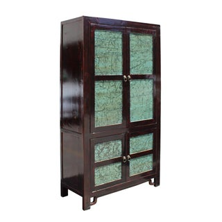 Chinese Distressed Turquoise & Brown Armoire Preview