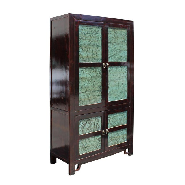 This is a large oriental storage dresser cabinet with distressed brown color frame and crackle stone pattern turquoise...