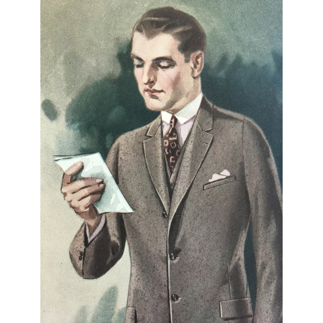 """1920s 1923 Tailor's Shop Poster for Men's Fashions 16"""" X 21"""" For Sale - Image 5 of 6"""