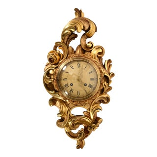 Vintage Swedish Gilt Wood Framed Wall Cartel Clock For Sale