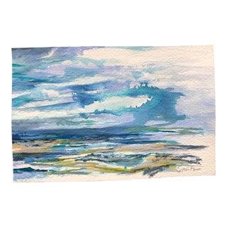 """Nancy Smith Original Miniature Seascape """"Distant Rain"""" Watercolor Painting For Sale"""