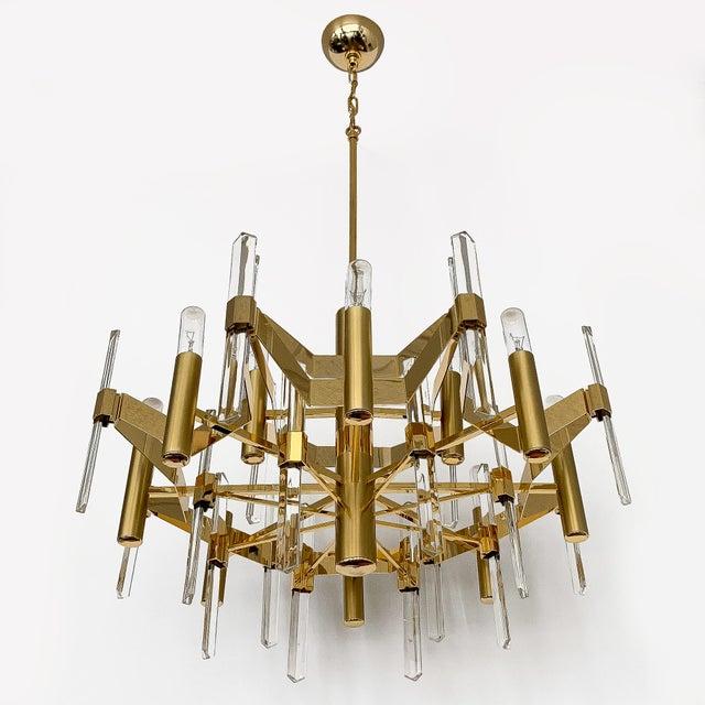 Gaetano Sciolari Gold-Plated Brass and Crystal Chandelier by Gaetano Sciolari For Sale - Image 4 of 12