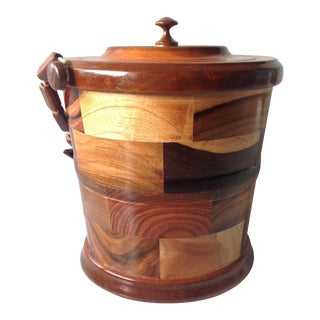 Mid-Century Handmade Mixed Wood Ice Bucket