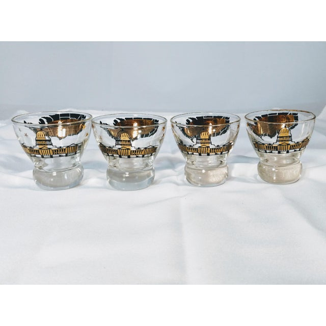 Mid 20th Century Vintage Barware Capital Map Lowball Glasses - Set of 4 For Sale - Image 5 of 8
