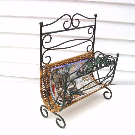 Wrought Iron & Rattan Magazine Basket For Sale - Image 4 of 6
