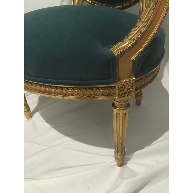 Blue 19th C. French Gilt Chairs - a Pair For Sale - Image 8 of 13