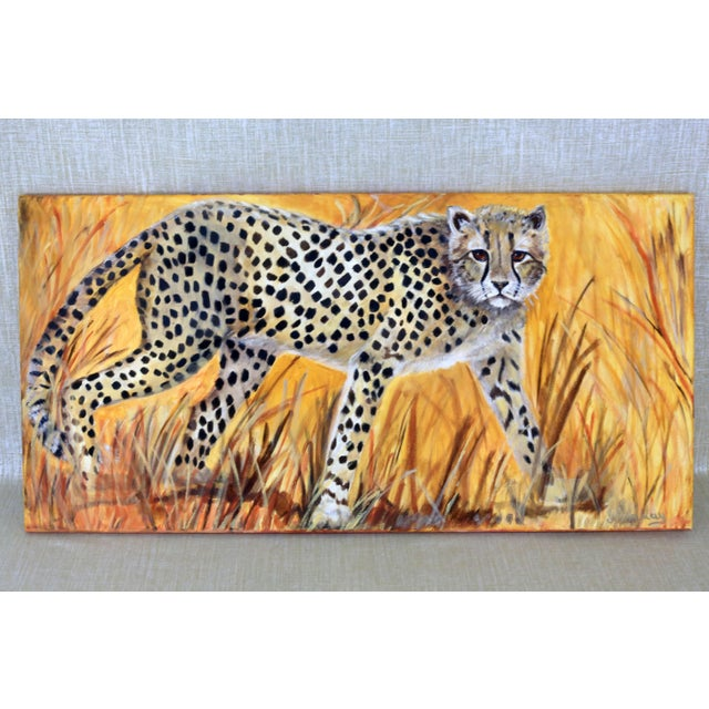 """African 36"""" Original Cheetah Oil Painting by Gilian Levy For Sale - Image 3 of 8"""