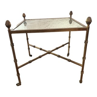 Vintage Metal Faux Bamboo Table For Sale