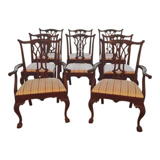 1990s Vintage Karges Chippendale Style Mahogany Dining Room Chairs- Set of 8 For Sale