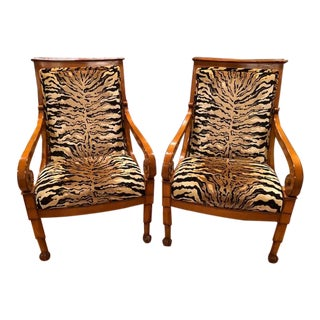 Meyer Gunther Martini Faux Tiger Arm Chairs - a Pair For Sale