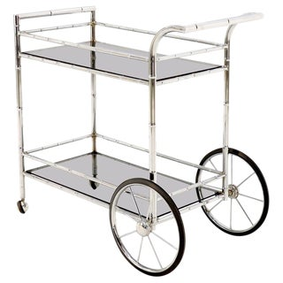 Faux Chrome Bamboo Smoked Glass Two-Tier Rolling Cart Server For Sale