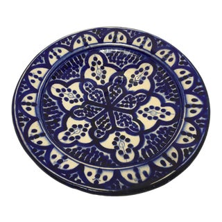 Moroccan Blue and White Handcrafted Ceramic Plate For Sale