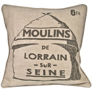 French Grain Mill Linen Pillow For Sale