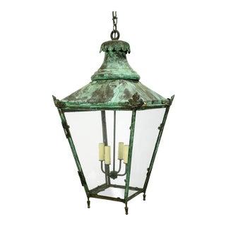 Large English Green Patina Lantern For Sale