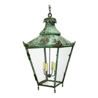 Large Green Patina Lantern