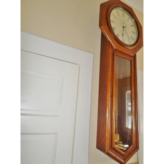 Seth Thomas Clock Company Antique Seth Thomas Regulator No. 18. Solid Oak Wood Wall Regulator Clock For Sale - Image 4 of 10