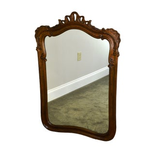 1990s Henredon Villandry French Country Style Carved Walnut Wall Mirror For Sale