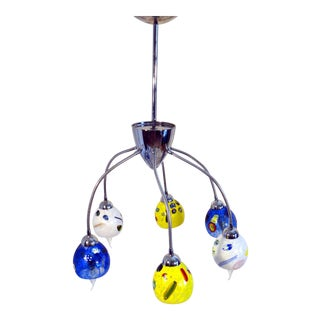 Murano Glass Shades With Millefiori 6 Light Flex Ceiling Lamp For Sale