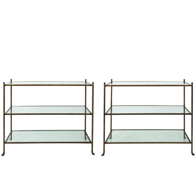 Pair of 1980s Three-Tier Glass Etageres For Sale - Image 13 of 13