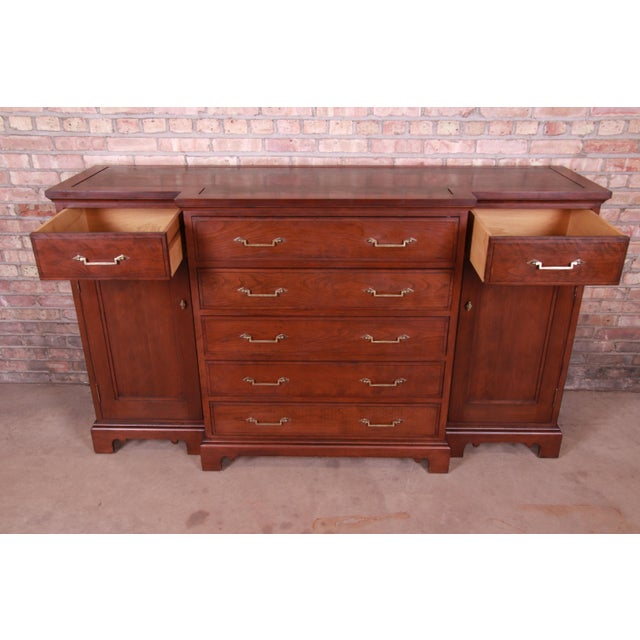French Provincial Solid Mahogany Marble Top Sideboard Credenza Attributed to Grange For Sale In South Bend - Image 6 of 13