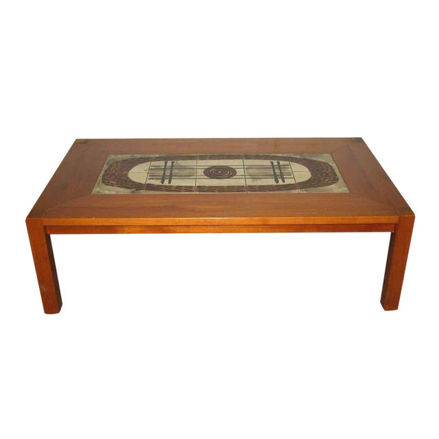 Modern Wooden Coffee Table with Tile Insert For Sale