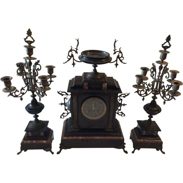 French Black Marble Mantle Clock With Candelabras For Sale - Image 11 of 11