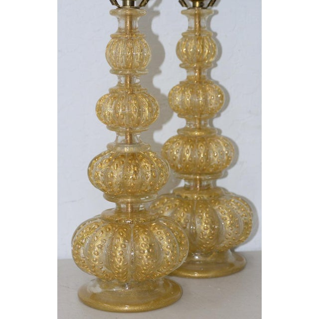 Pair of Barovier & Toso Venetian Glass Mid-Century Modern Table Lamps C.1950 For Sale In San Francisco - Image 6 of 8
