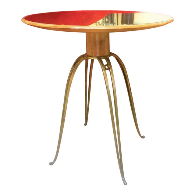 Rene Prou Rare Refined Pair of Side Table in Sycamore and Gold Leaf Wrought Iron.