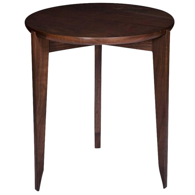 Customizable Stillmade Walnut Tripod Side Table with Solid Walnut Top For Sale