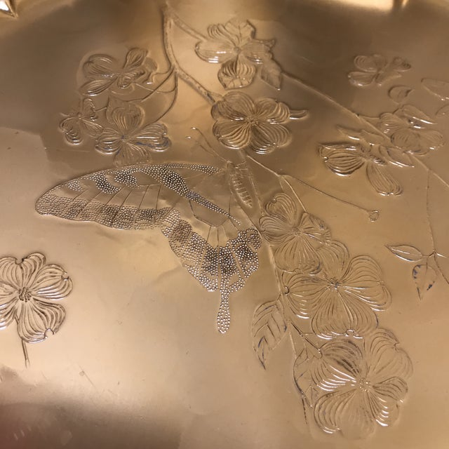1990s Americana Rose-Gold Etched Serving and Decor Tray For Sale In Los Angeles - Image 6 of 10