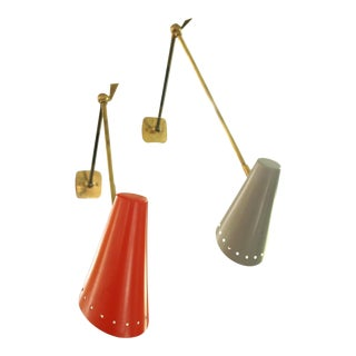 Movable Brass Wall Lights - A Pair