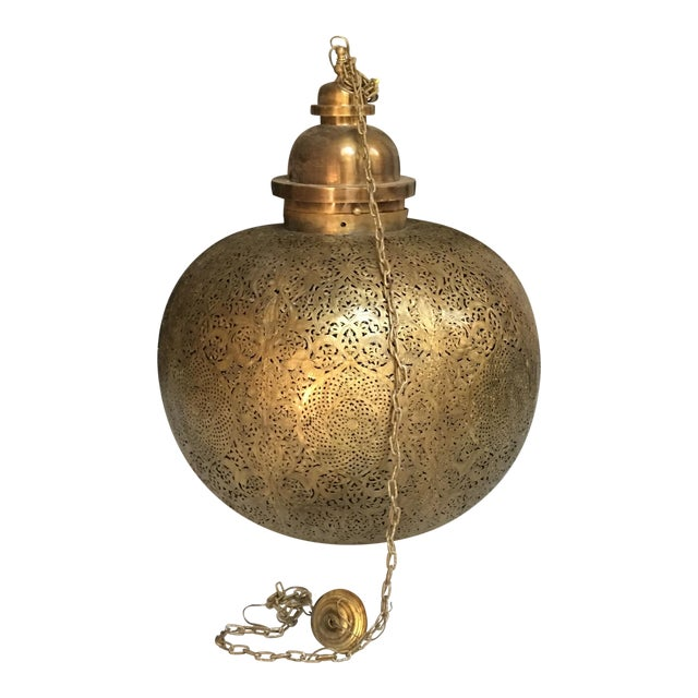 Moroccan Oversized Bronze Lamp - Image 1 of 4