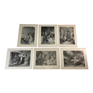 1892 Antique Characters From Works by Sir Walter Scott Prints - Set of 6 For Sale