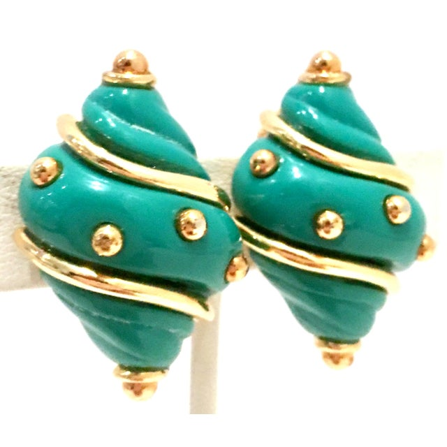 Abstract 20th Century Kenneth J Lane Gold & Enamel Snail Form Earrings For Sale - Image 3 of 11