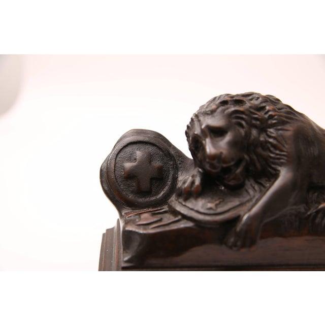 Wood Bertel Thorvaldsen, Ahorn.Carved Book Ends Swiss Guard Lions of Lucerne, France For Sale - Image 7 of 10
