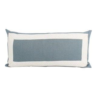 Wedgewood Blue Greek Key Lumbar Pillow For Sale